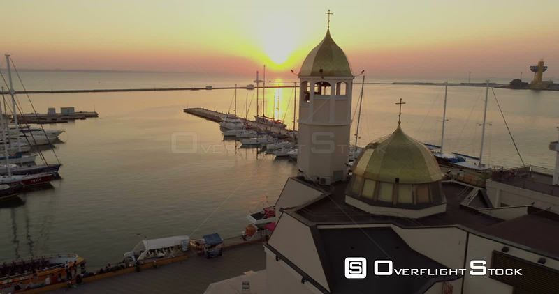 Drone flies sideways past St Nicholas Church. Ukraine