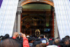 Crowds wait to enter Las Nazarenas church to pay respects to Señor de los Milagros, Lima, Peru