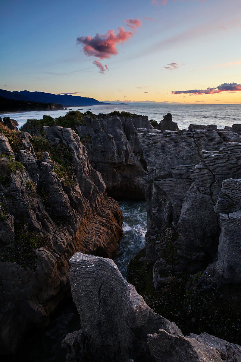 Punakaiki Rocks at Sunset