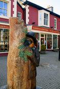 Wood carving of Twm Sion Cati. Tregaron