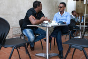 Ethiopia - Addis Ababa - Customers at a pavement cafe