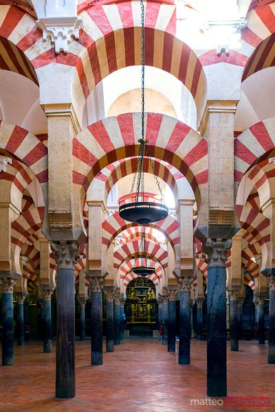 Arches inside the famous Mezquita of Cordoba, Spain