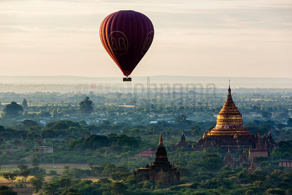 Hot Air Balloon over the Pagoda Field at Dawn