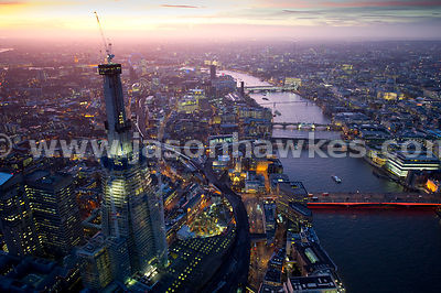 Aerial view of The Shard at night, London