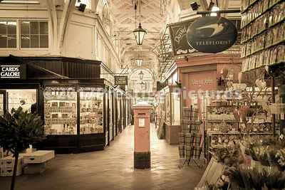 Post Box in the centre of The Covered Market in Oxford - Vintage Photo Treatment