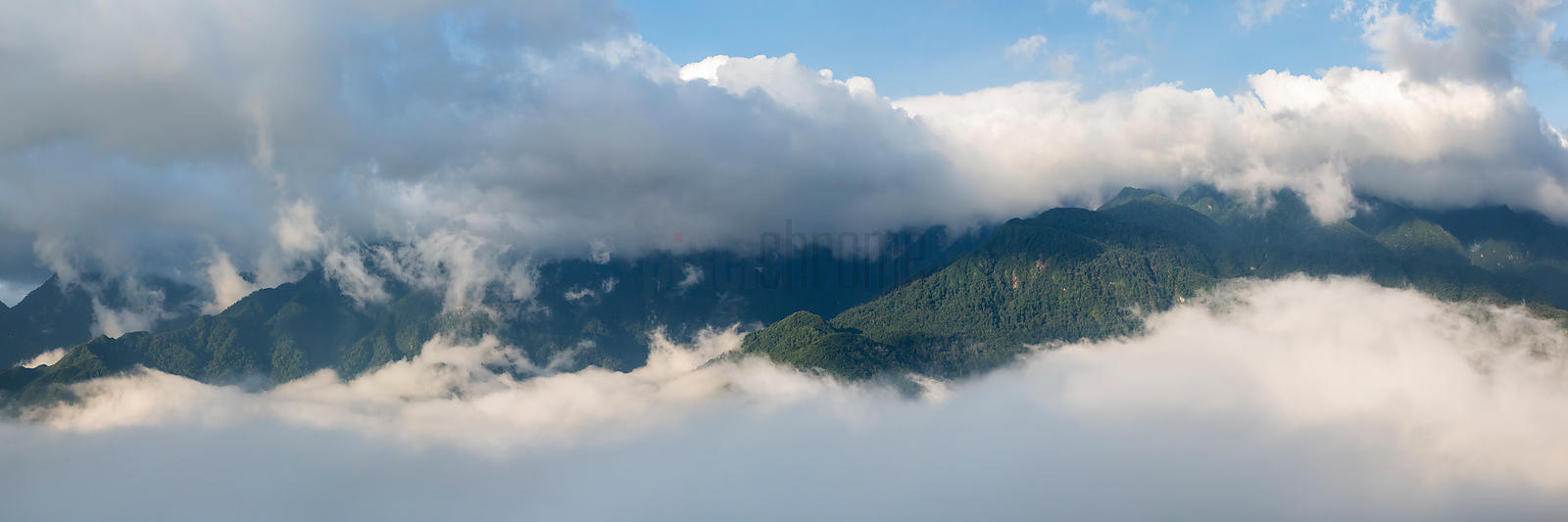 Sapa Valley with Morning Fog.