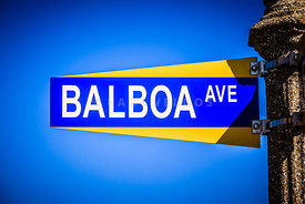 Balboa Avenue Street Sign Newport Beach California