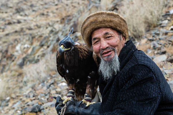 Portrait of a Kazakh Golden Eagle Hunter