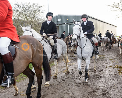 Will Wyatt, Dick Wise leaving the meet. The Cottesmore Hunt at Launde Park Farm