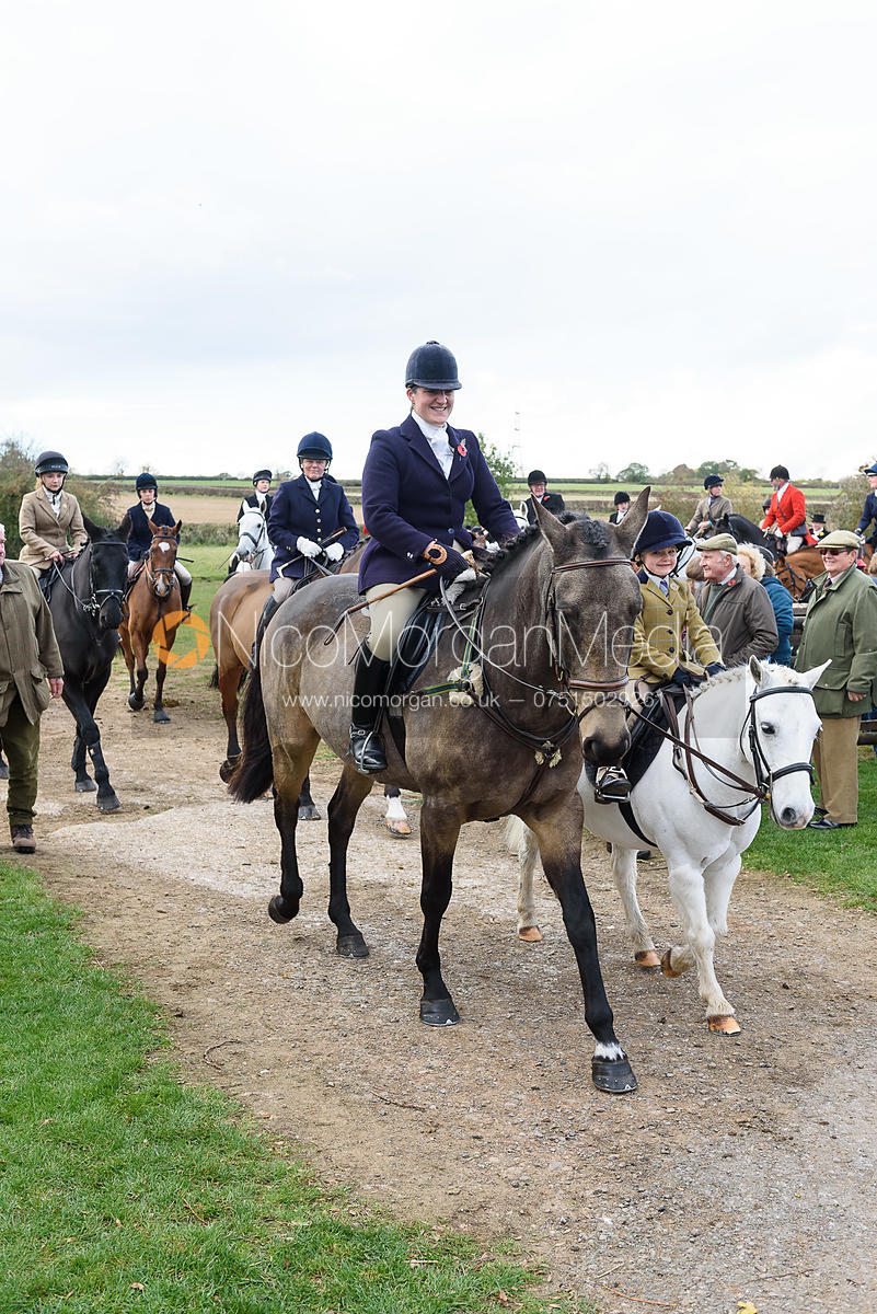 Lucy Young, Eva Young leaving the meet. Quorn Hunt Opening Meet 2018