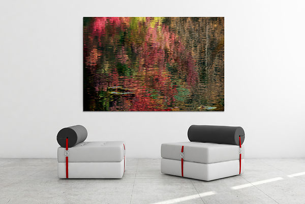 Fine-art-photography-Decoration-murale-Impresion-Chromaluxe-Hymne-Creation-reflets-rouges-eau-automne-Monet-spirit