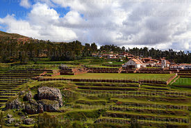 View of village and terraces of Inca site, Chinchero, near Cusco, Peru