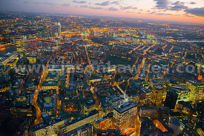 Aerial view of Pimlico at night, London