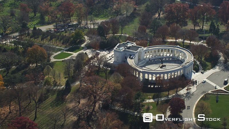 Over Memorial Amphitheater and Tomb of the Unknowns in Arlington National Cemetery. Shot in November