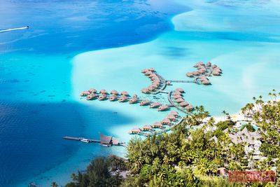 Aerial of overwater bungalows, Bora Bora, French Polynesia