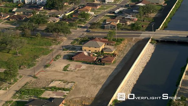 Aerial view of rebuilt levee, 9th Ward, New Orleans, Louisana