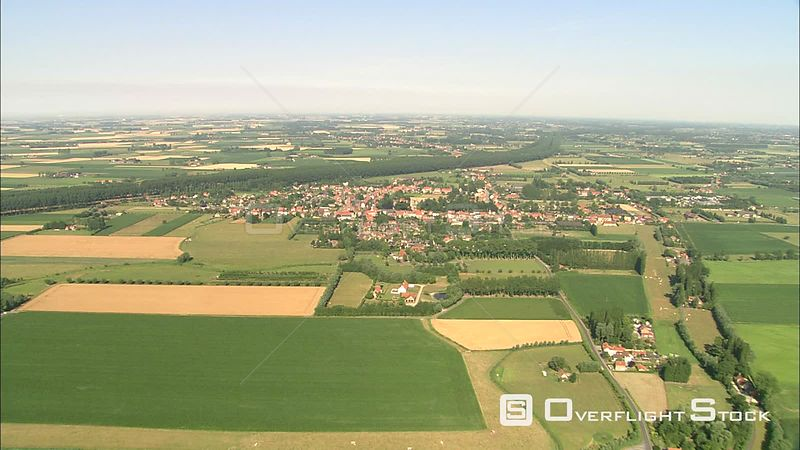 Wide aerial view of landscape around Bruges, Belgium