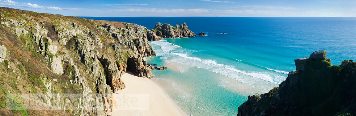 Logan Rock and Pednvounder beach, at Porthcurno, Cornwall - BP2425