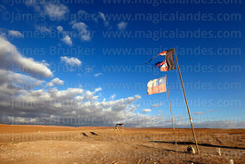 National and Colo Colo football team flags and dramatic clouds over the Atacama Desert near Pica, Region I, Chile