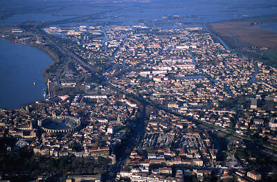 Aerial view of Arles during River Rhone flood, Camargue, France, December 2003