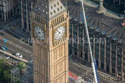 Aerial view of London, Portcullis House with Big Ben.