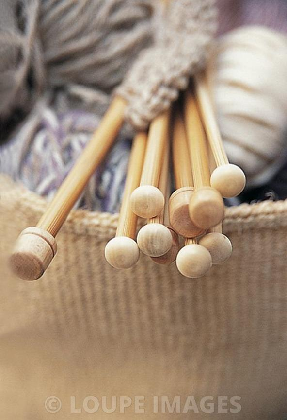 Close up wooden knitting needles