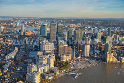Canary Wharf, Isle of Dogs, aerial view, London