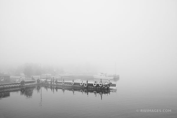 FOG DETROIT HARBOR WASHINGTON ISLAND DOOR COUNTY WISCONSIN BLACK AND WHITE