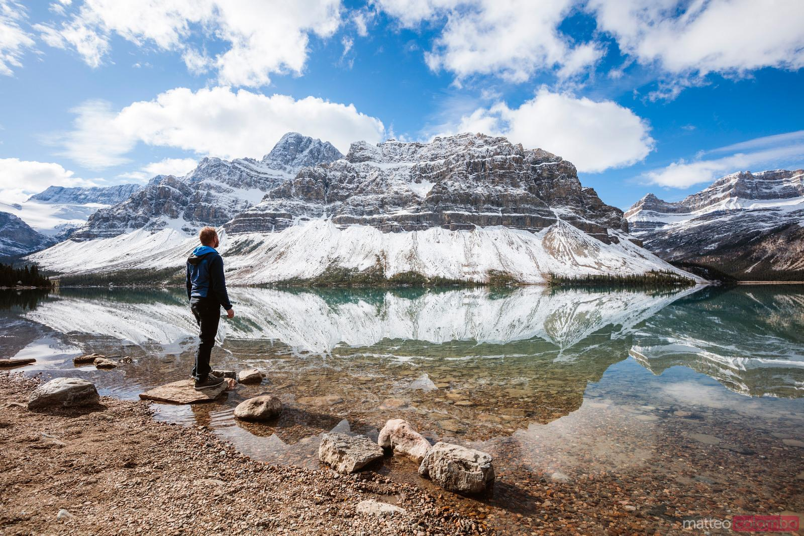 Hiker at Bow lake in autumn, Banff National Park, Canada