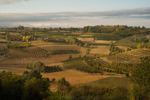 Country landscape in Piedmont (Piemonte) region of Italy