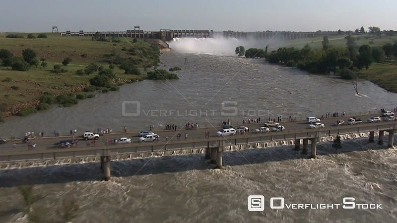 Aerial shot over the flood gates of the Vaal Dam Bloemfontein Free State South Africa