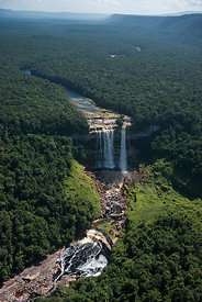 Aerial view of Kumerau Falls, along the Kurupung river, Pakaraima Mountains, Guyana, South America