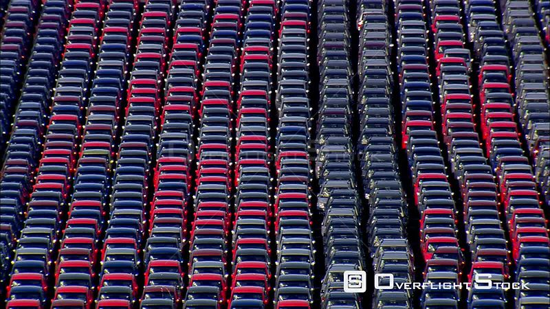 Rows of new cars ready for shipping