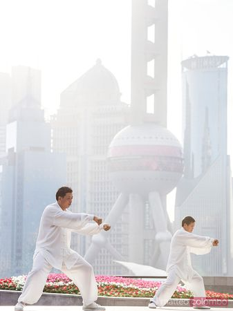 Chinese men practicing Tai chi, Shanghai, China