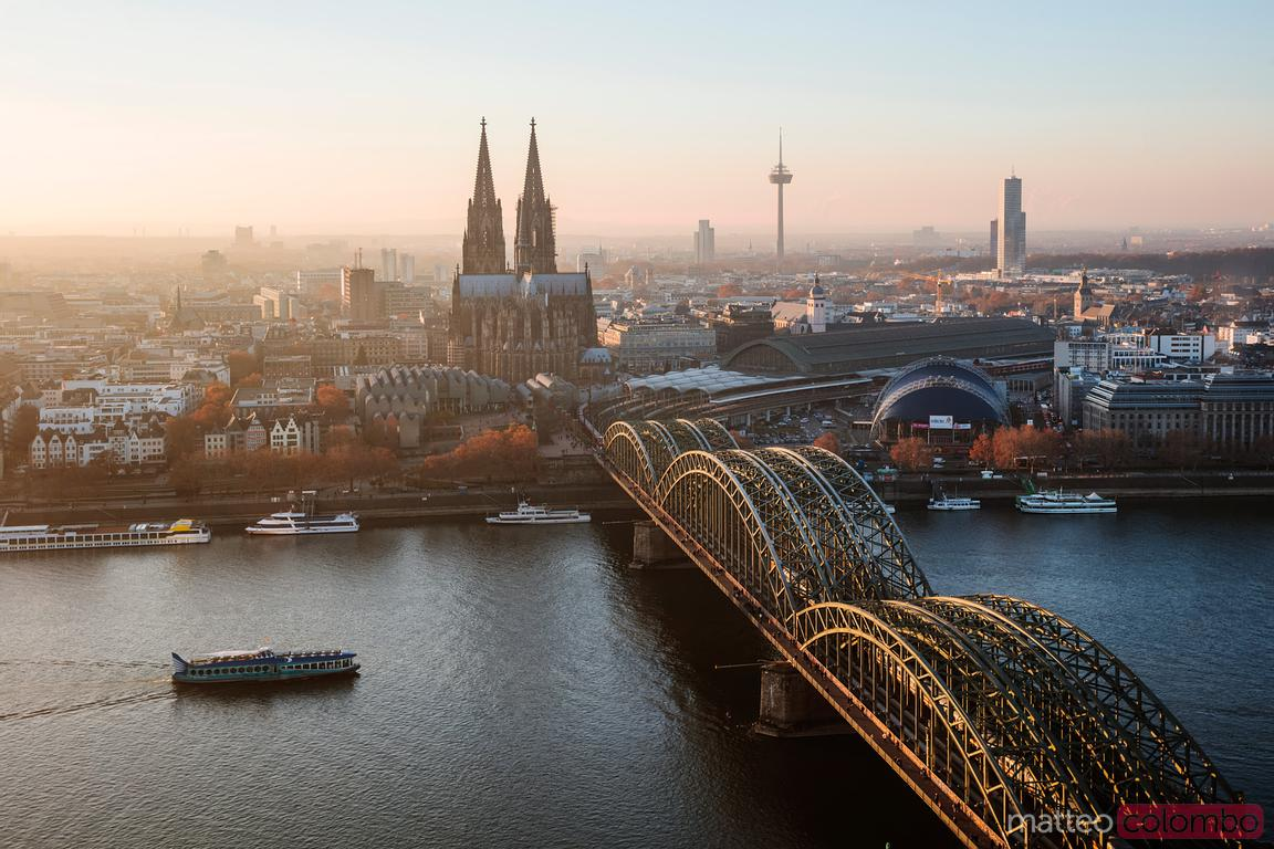 Cologne cathedral and skyline at sunset, Germany