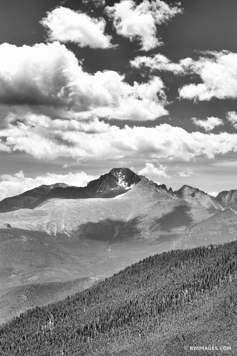 LONGS PEAK ROCKY MOUNTAIN NATIONAL PARK COLORADO BLACK AND WHITE VERTICAL