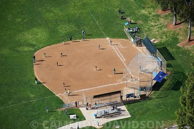 Aerial photograph of a baseball diamond with players