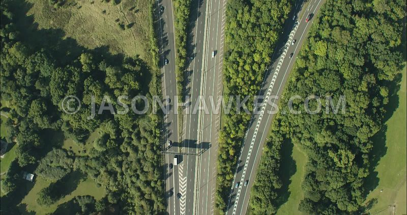 London Aerial Footage Motorway junction with flyovers