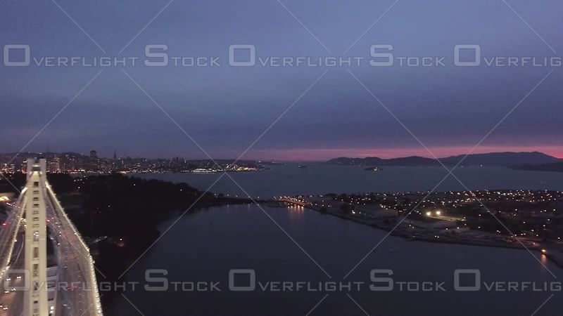 San Francisco Bay Bridge Dusk Wideshot Flyover Road