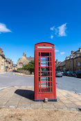 Iconic red phone box in the Cotswold town of Chipping Campden, UK.