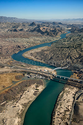 Colorado River at Topock with Trails Arch Bridge,.Arizona and California, USA.
