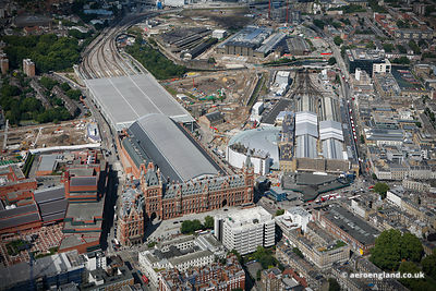 aerial photograph of Kings Cross railway station  and St Pancras  railway station in London England UK