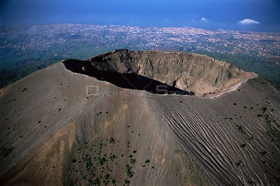 Crater of Mount Vesuvius with Naples in the background, Southern Italy.
