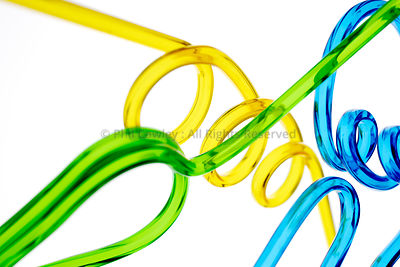Abstract colorful Yellow plastic tube on white background