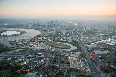 Aerial view of Canning Town and Bow Creek, Newham, London