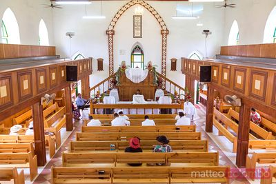 Interior of CICC catholic church in Rarotonga, Cook Islands