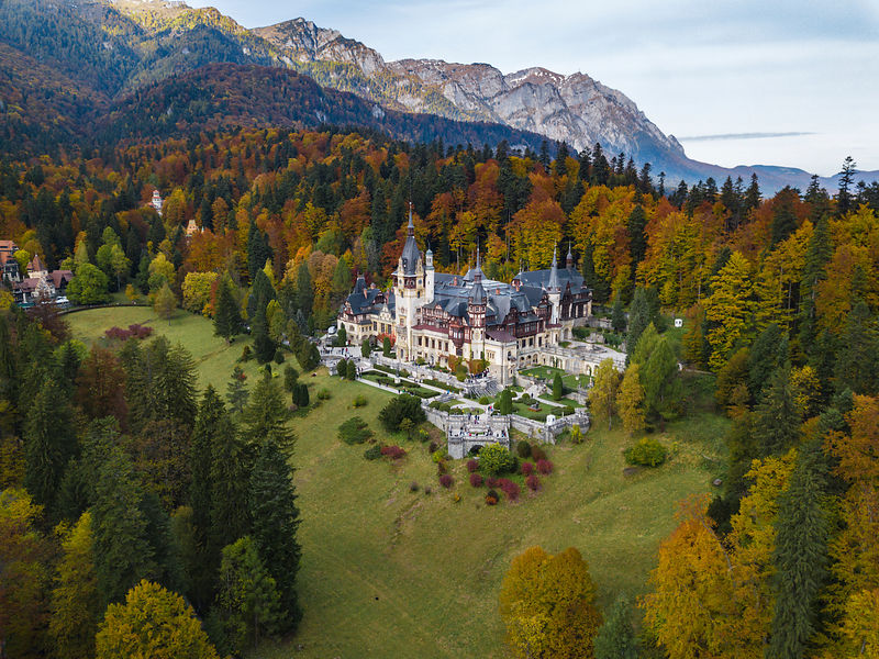 Elevated View of Peles Castle from a Drone