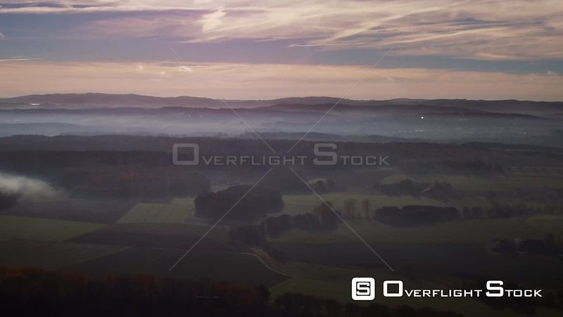 Weather situation with layered fog cover over forest areas in Drüpplingsen in the federal state North Rhine-Westphalia, Germany