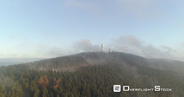 Communications Tower Drone Video Feldberg Germany on a Misty Morning Sunrise