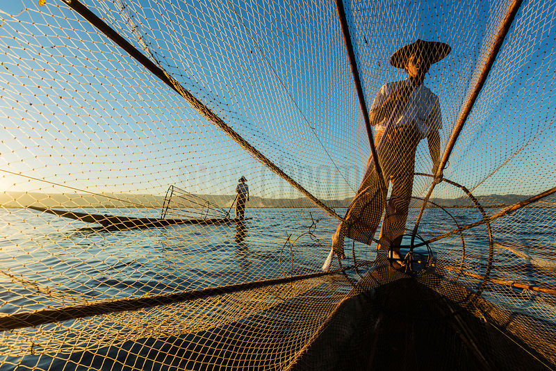 Fishermen on Inle Lake towards Sunset